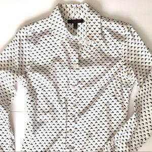 Black and White Banana Republic Button Down Shirt